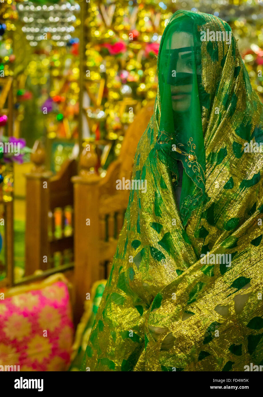 bride in the decorated room for traditional wedding, Hormozgan, Bandar-e Kong, Iran - Stock Image