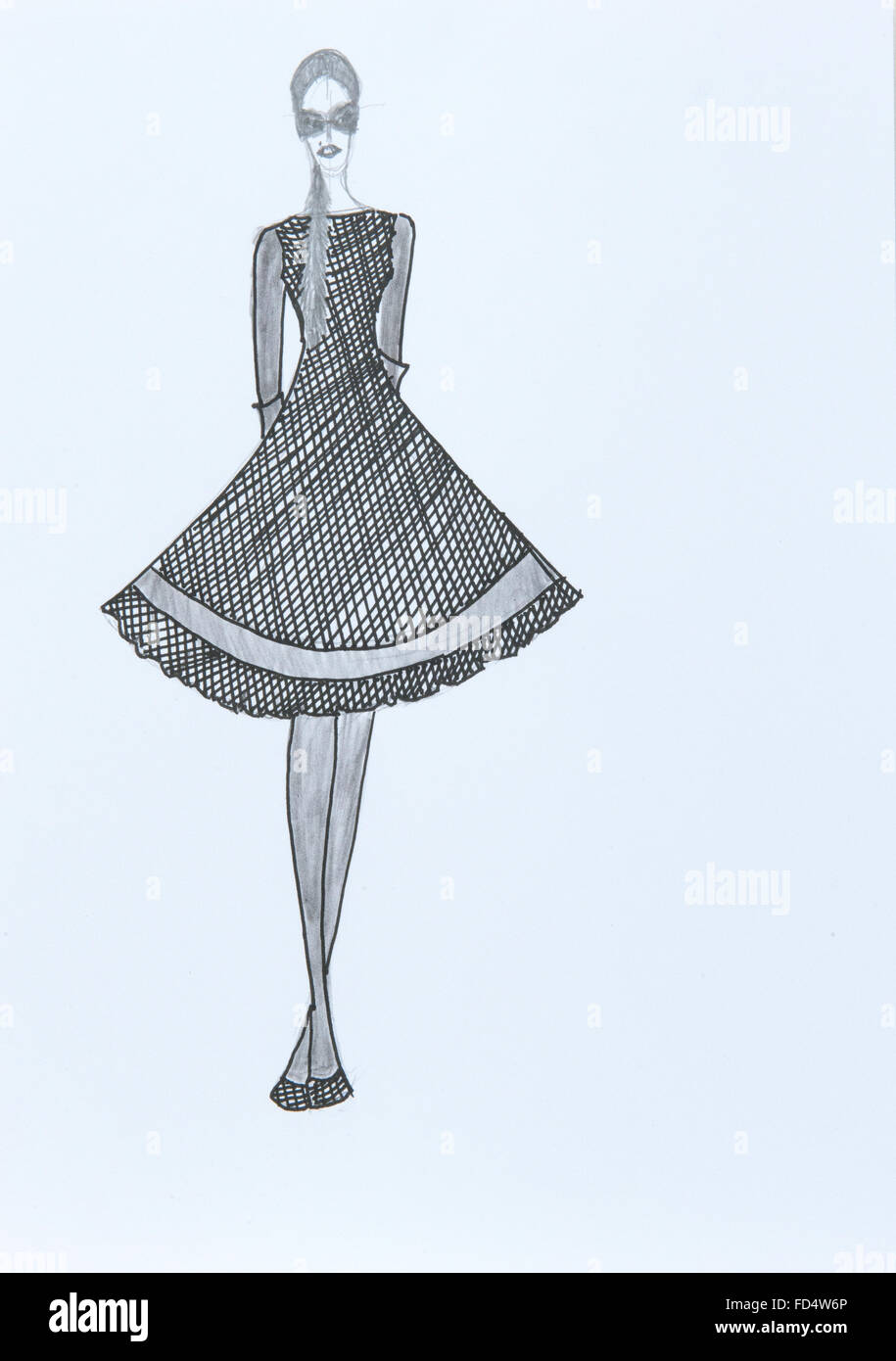 Handmade fashion sketch fashion draw of a woman dress in black white
