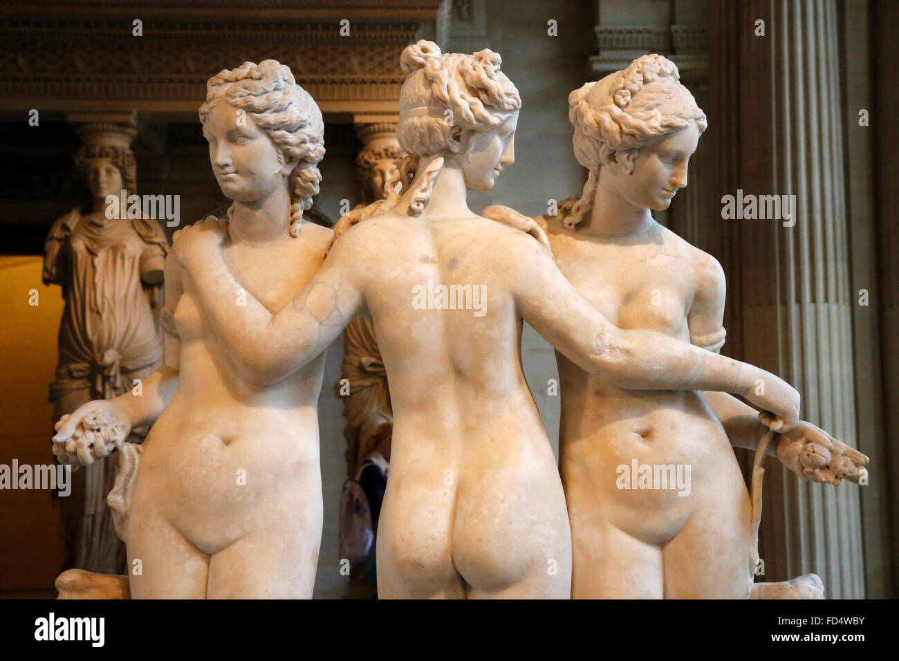 Louvre Museum. Paris. The Three Graces. Second century AD. Marble. Detail. - Stock Image