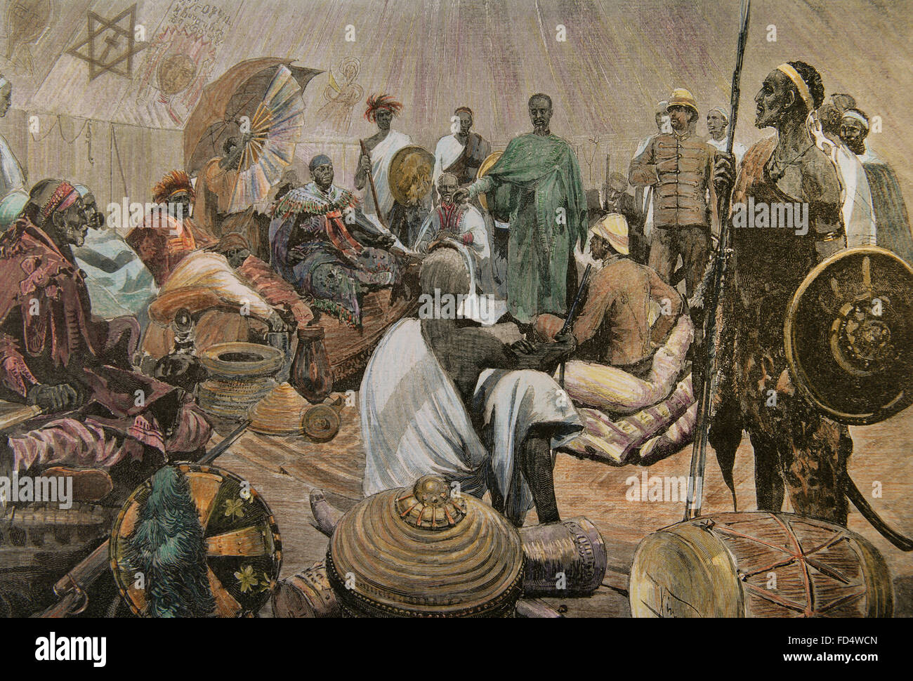 The First Italo-Ethiopian War  (1895-1896). Italians in Abyssinia. Major Tommaso Salsa and Captain Annibale Anghera - Stock Image