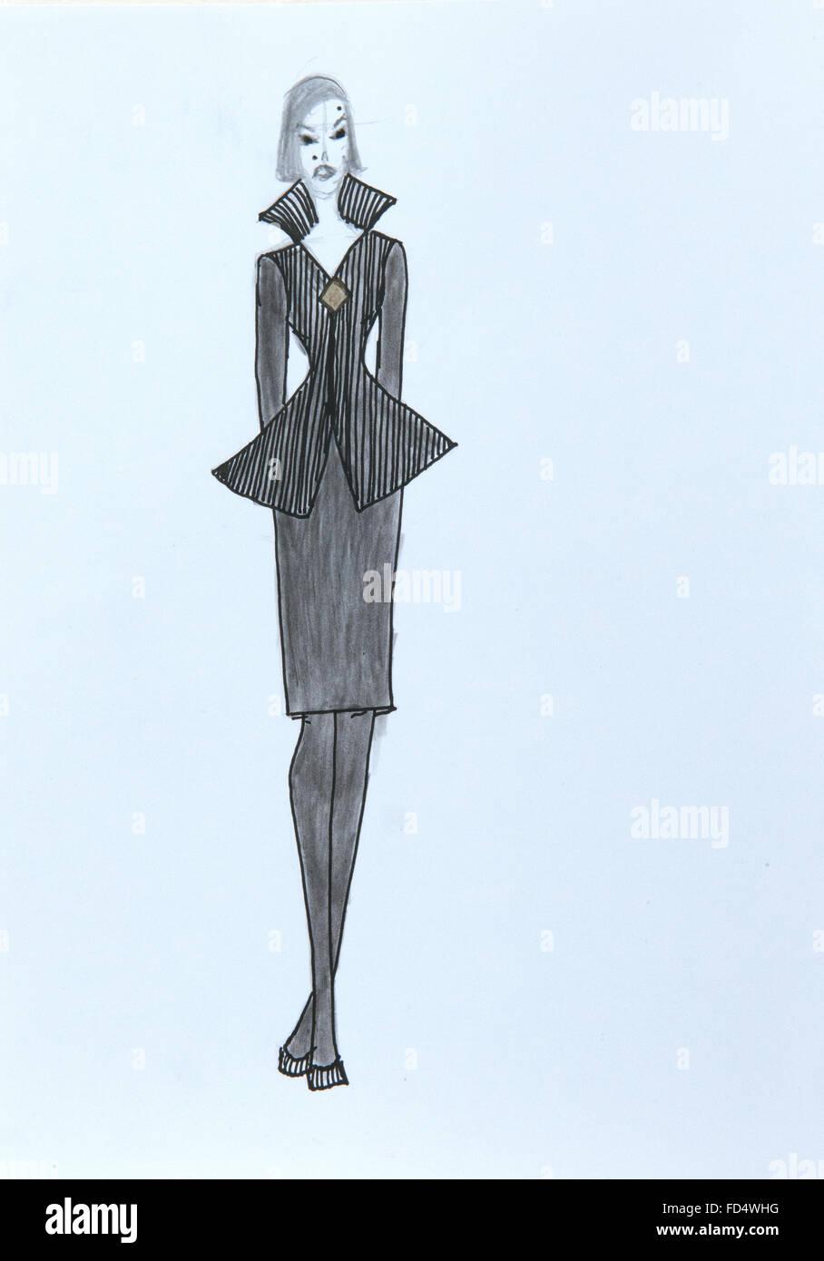Handmade Fashion Sketch Fashion Draw Of A Woman Dress In Black Stock Photo Alamy