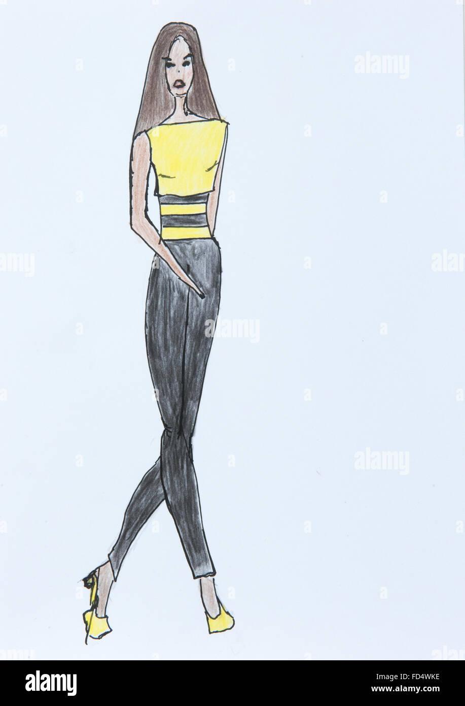 Hand made fashion sketch, fashion draw of free, casual ...