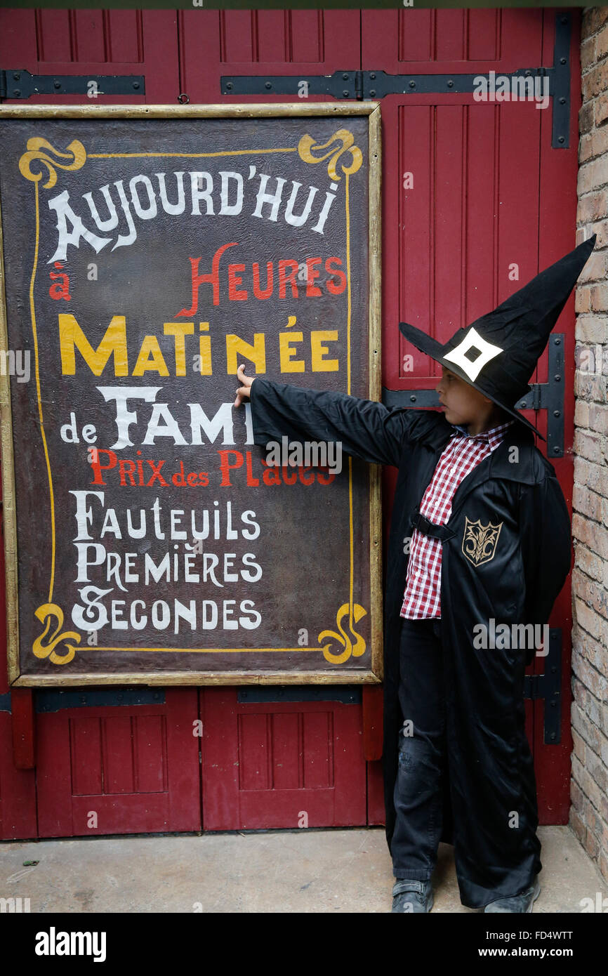 8-year-old boy at the Musee des arts forains, Paris. - Stock Image