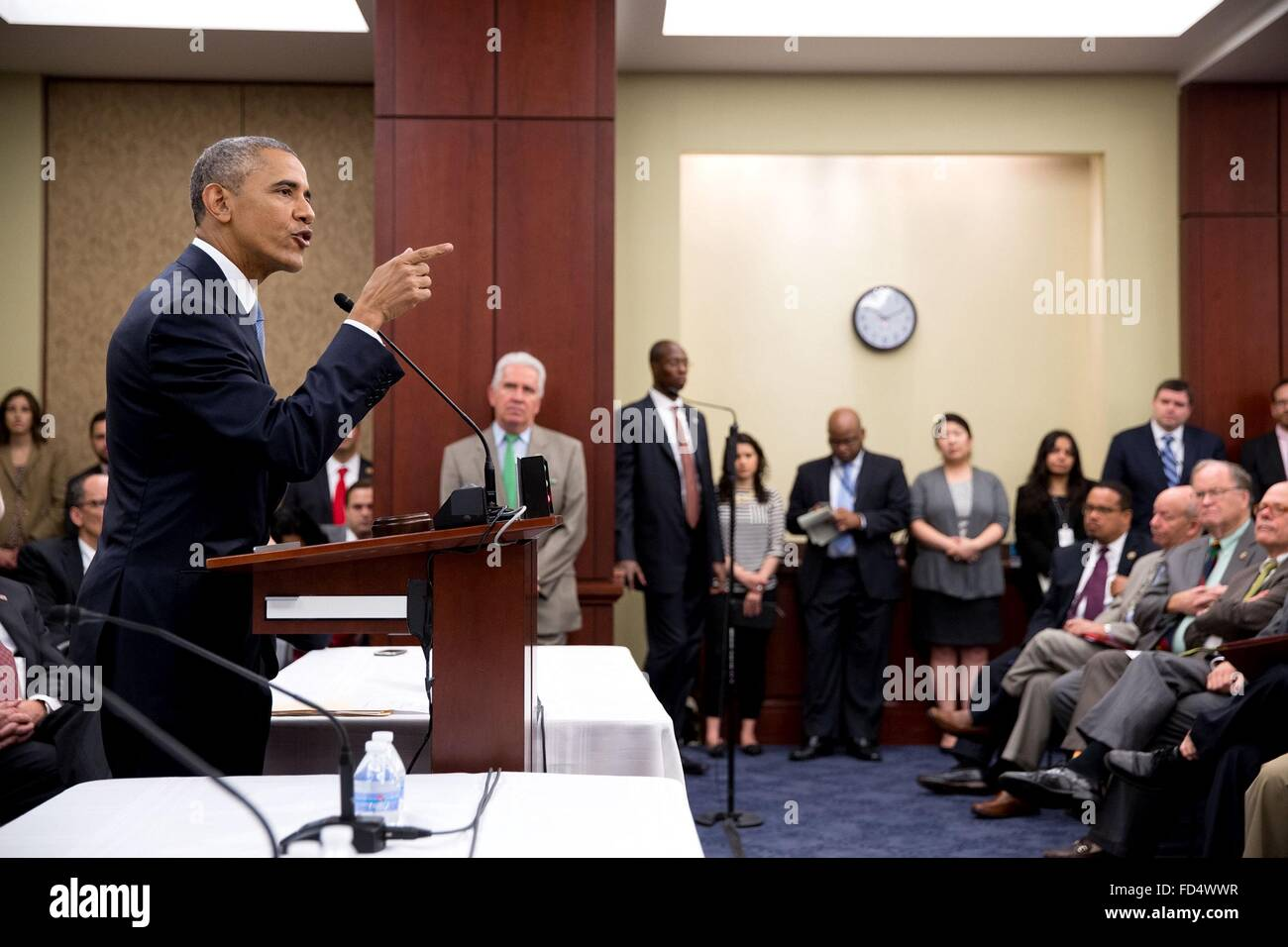 U.S. President Barack Obama talks to the House Democratic Caucus on the upcoming vote on fast-track Trade Promotion - Stock Image