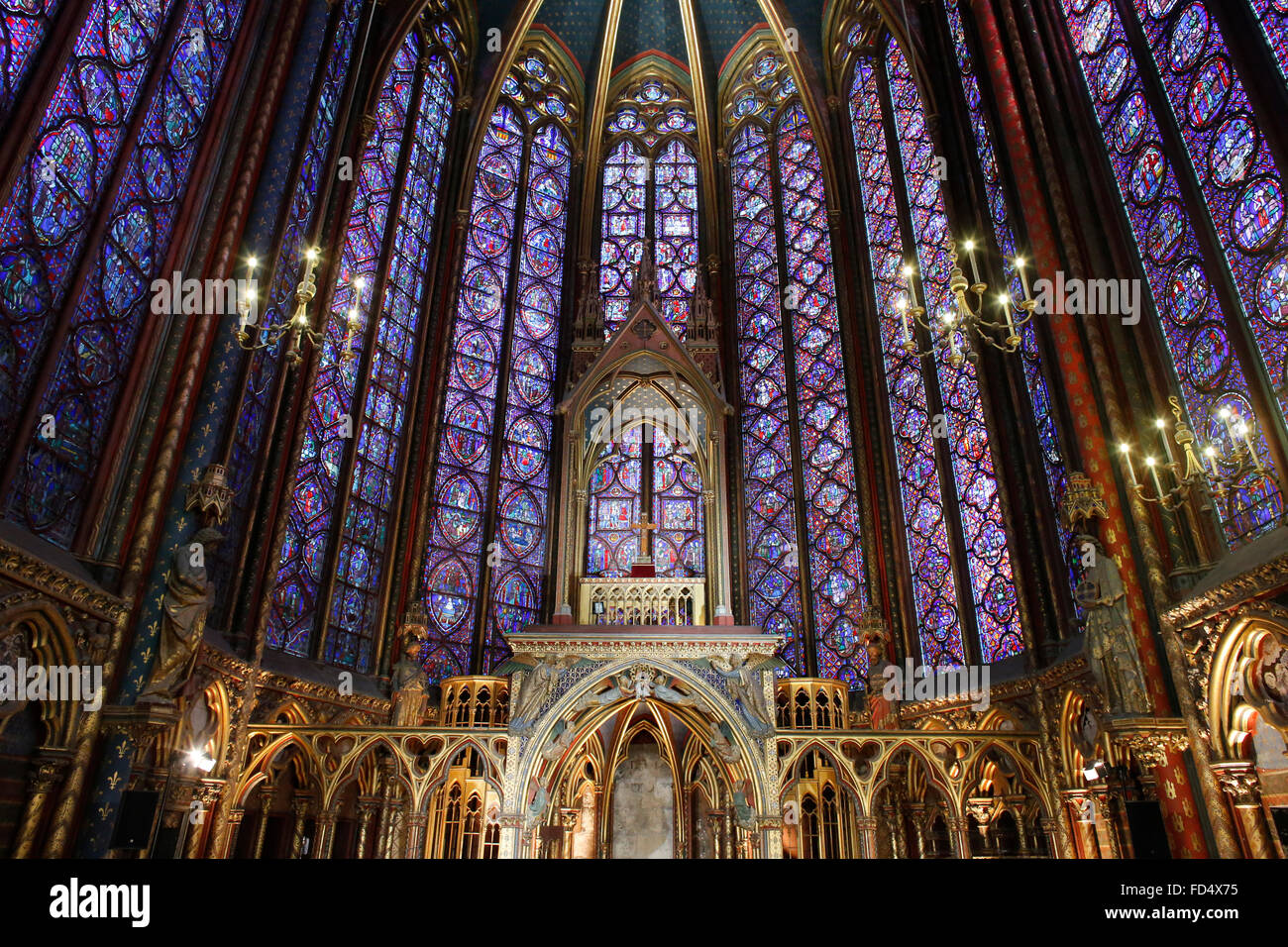 Holy Chapel. Paris. Shrine containing the great relics. Canopy sheltering the altar arches corresponding to the - Stock Image