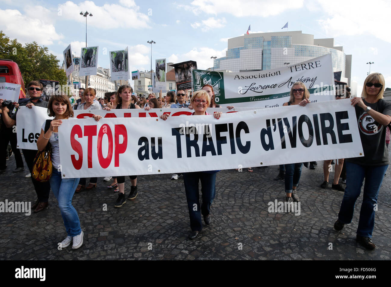 Global march for elephant and rhinos. World animal day. - Stock Image