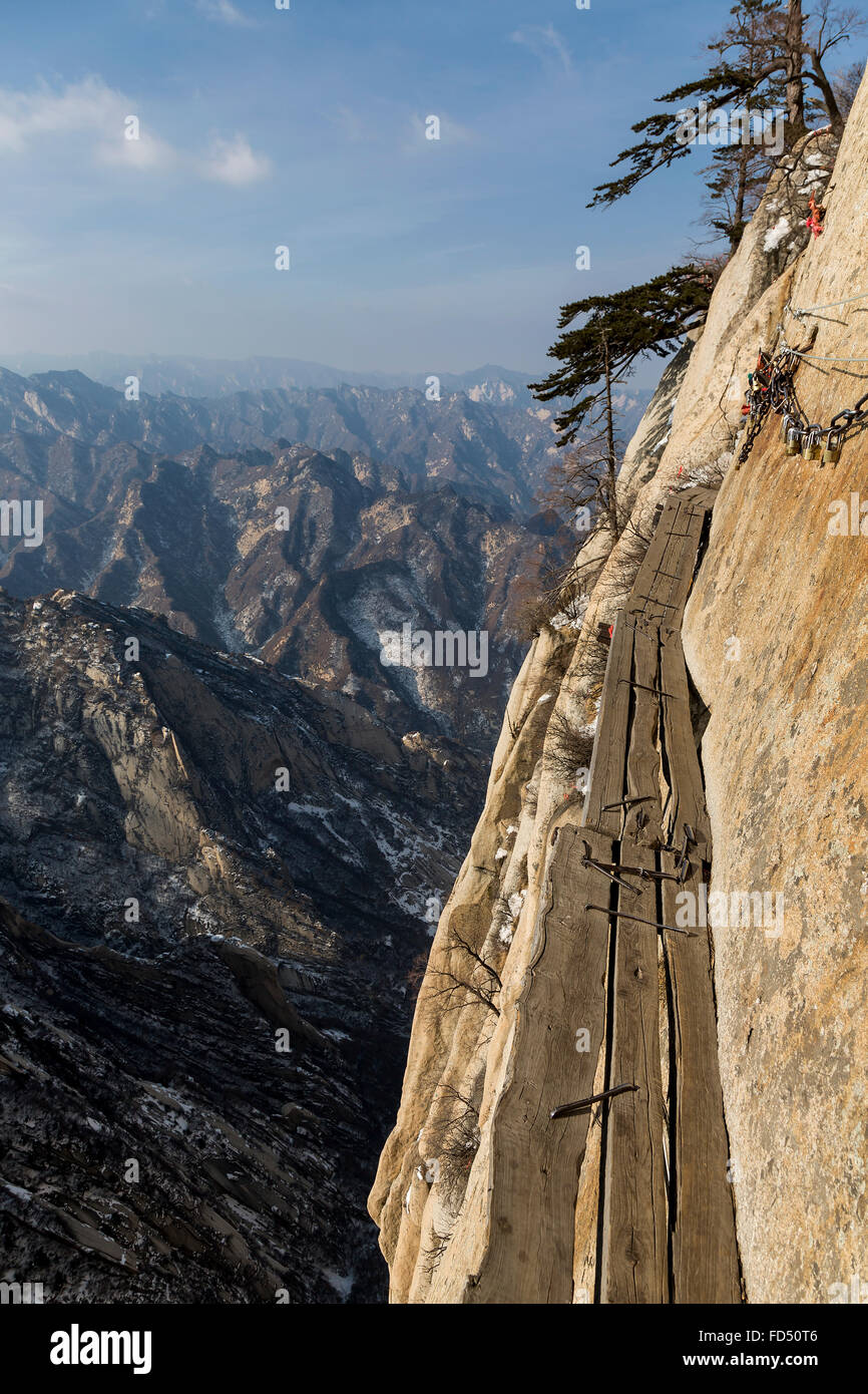wooden planks on the Danger Trail of Mount Hua Shan - Stock Image