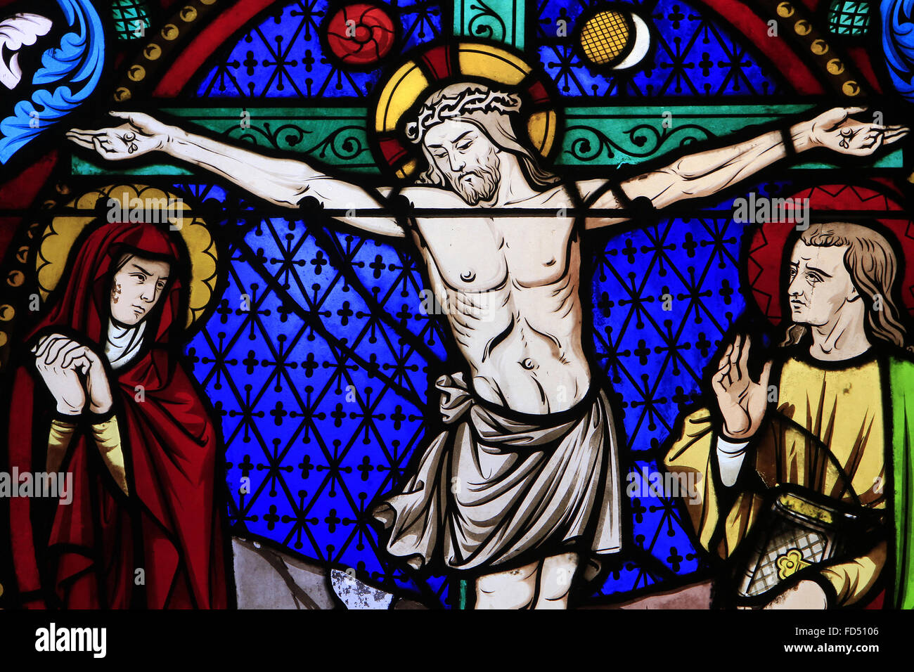 stained glass window the crucifixion of jesus christ