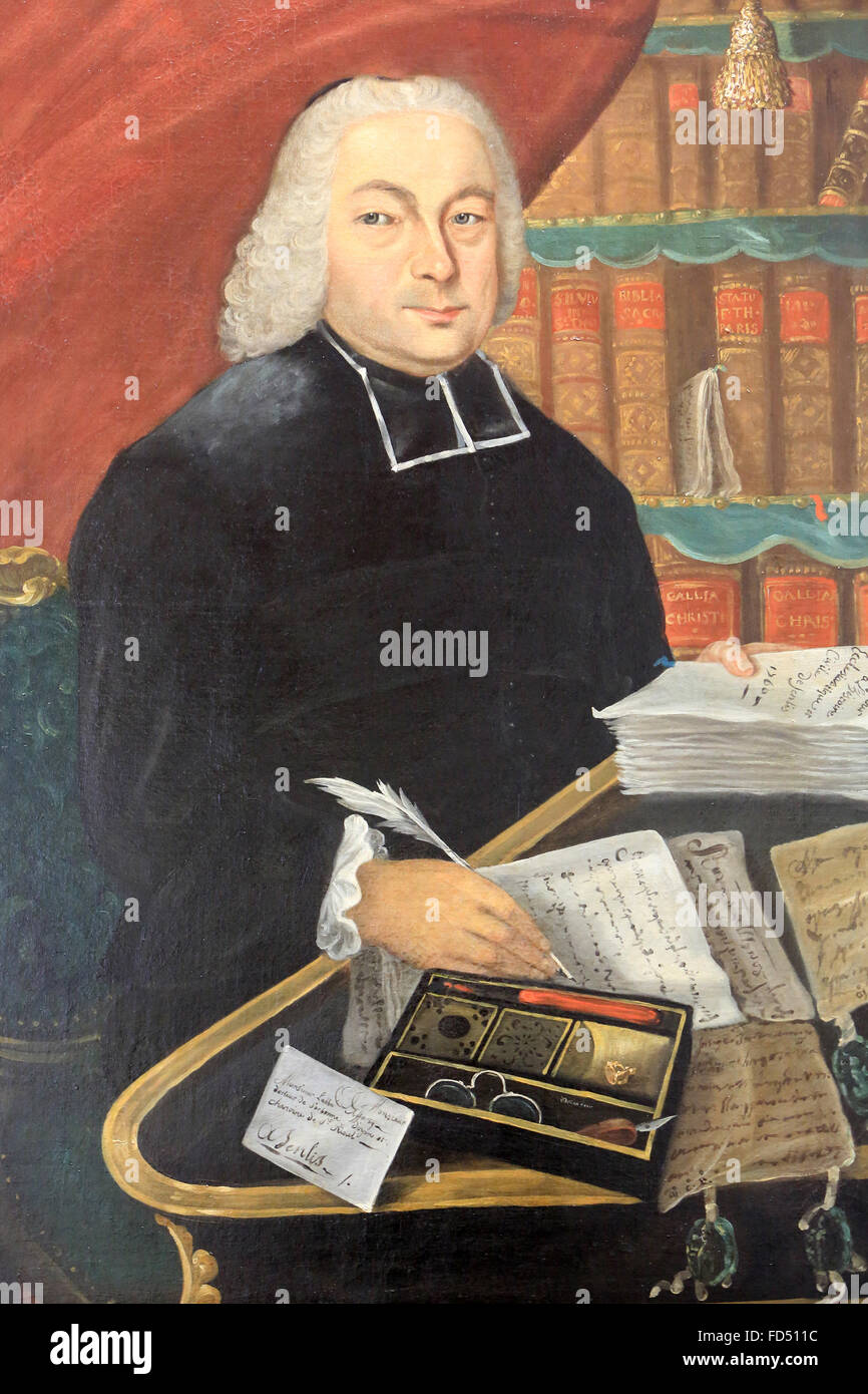 Portrait of Canon Afforty (1706-1786). 1760. Nicolas-Jacques Julliard. Oil on canvas. Museum of Art and Archaeology - Stock Image