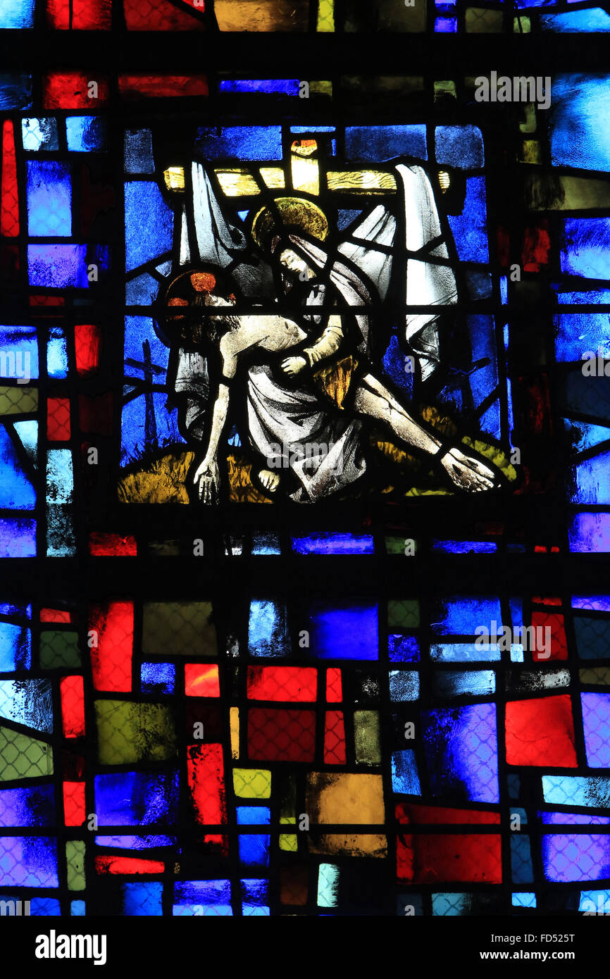 The passion of the Christ. The descent of Christ. Chapel of St. Joan of Arc. Stained glass window. Beauvais Cathedral. - Stock Image
