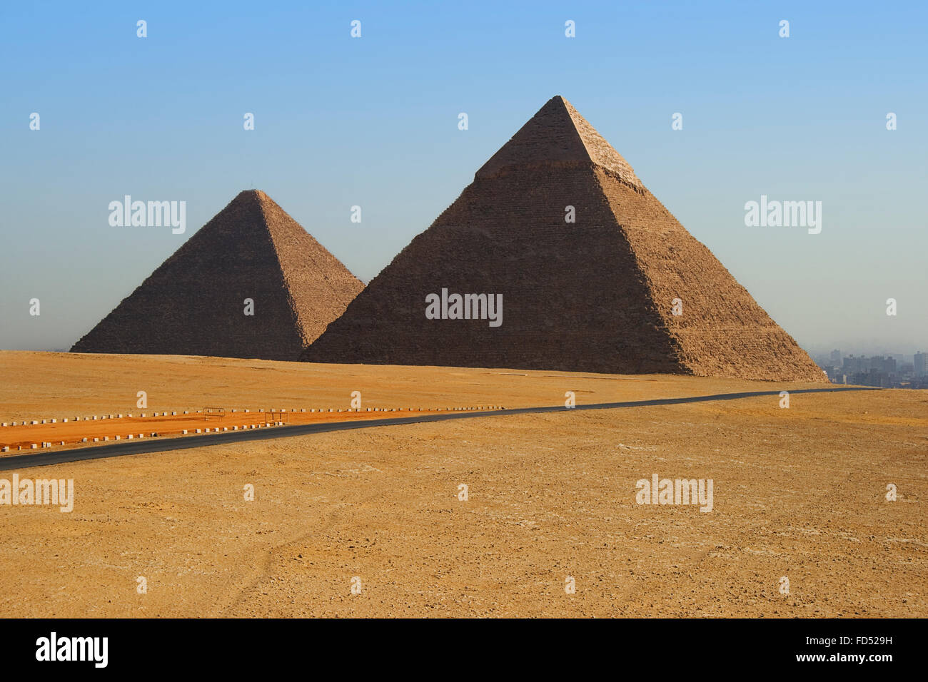 two of the great pyramids on the giza plateau - Stock Image