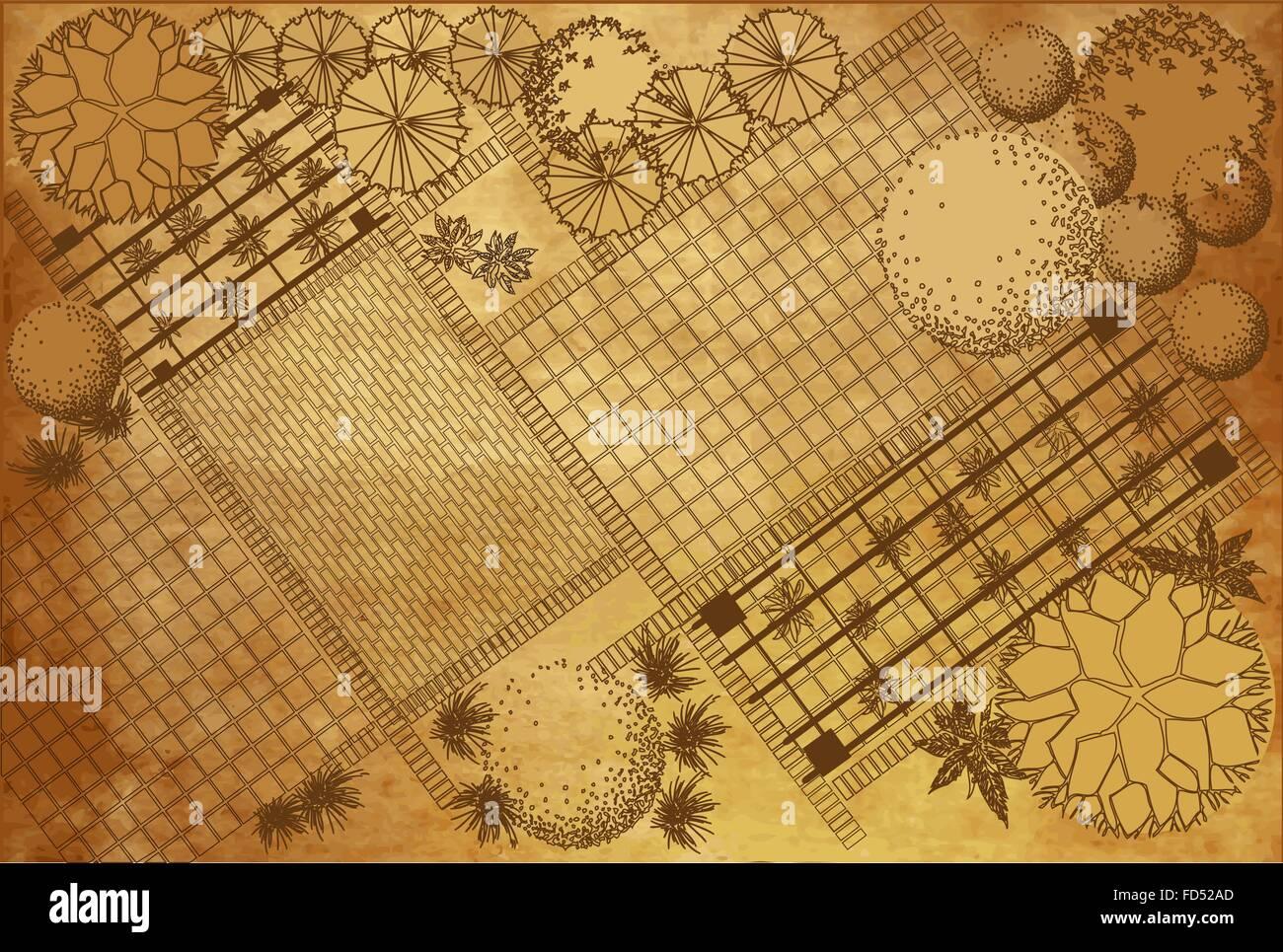 Landscape architectural project on vintage background, garden plan ...