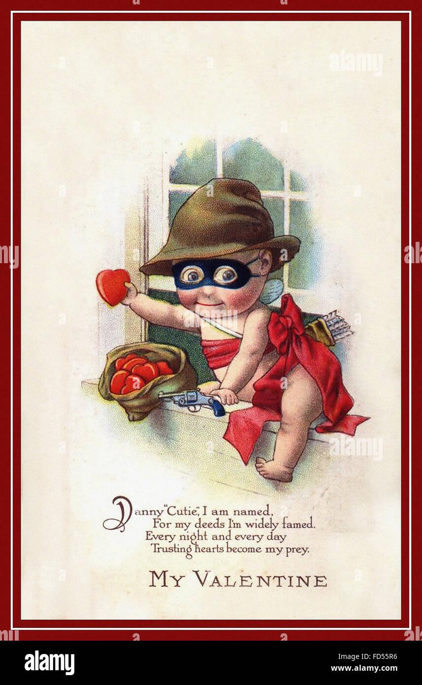 Vintage Valentine S Day Postcard Dan Cutie Burglar Stock Photo