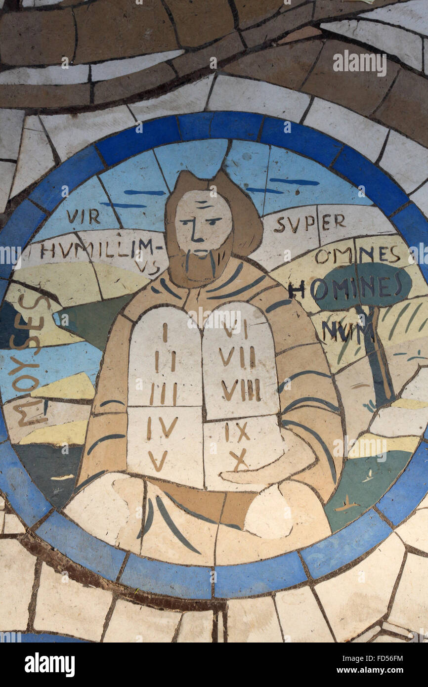 Moses and the tablets of the law. Mosaics. Church of the Beatitudes. - Stock Image