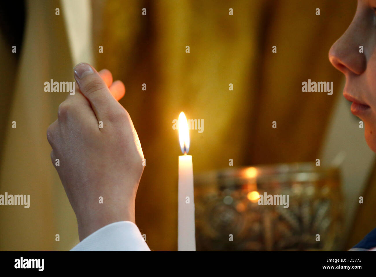 Amiens cathedral. Forgiveness day. Prayer. - Stock Image
