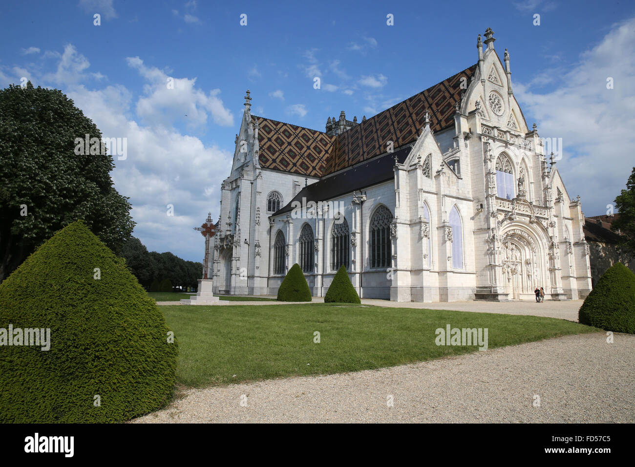 The royal monastery of Brou.  The church is a masterpiece of the Flamboyant Gothic style. - Stock Image