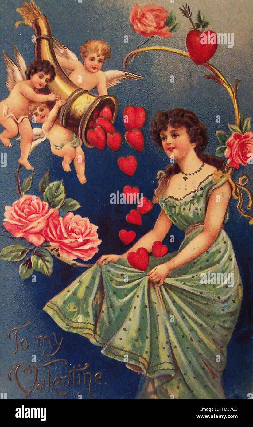 Vintage Valentine Day Card Stock Photo - Alamy