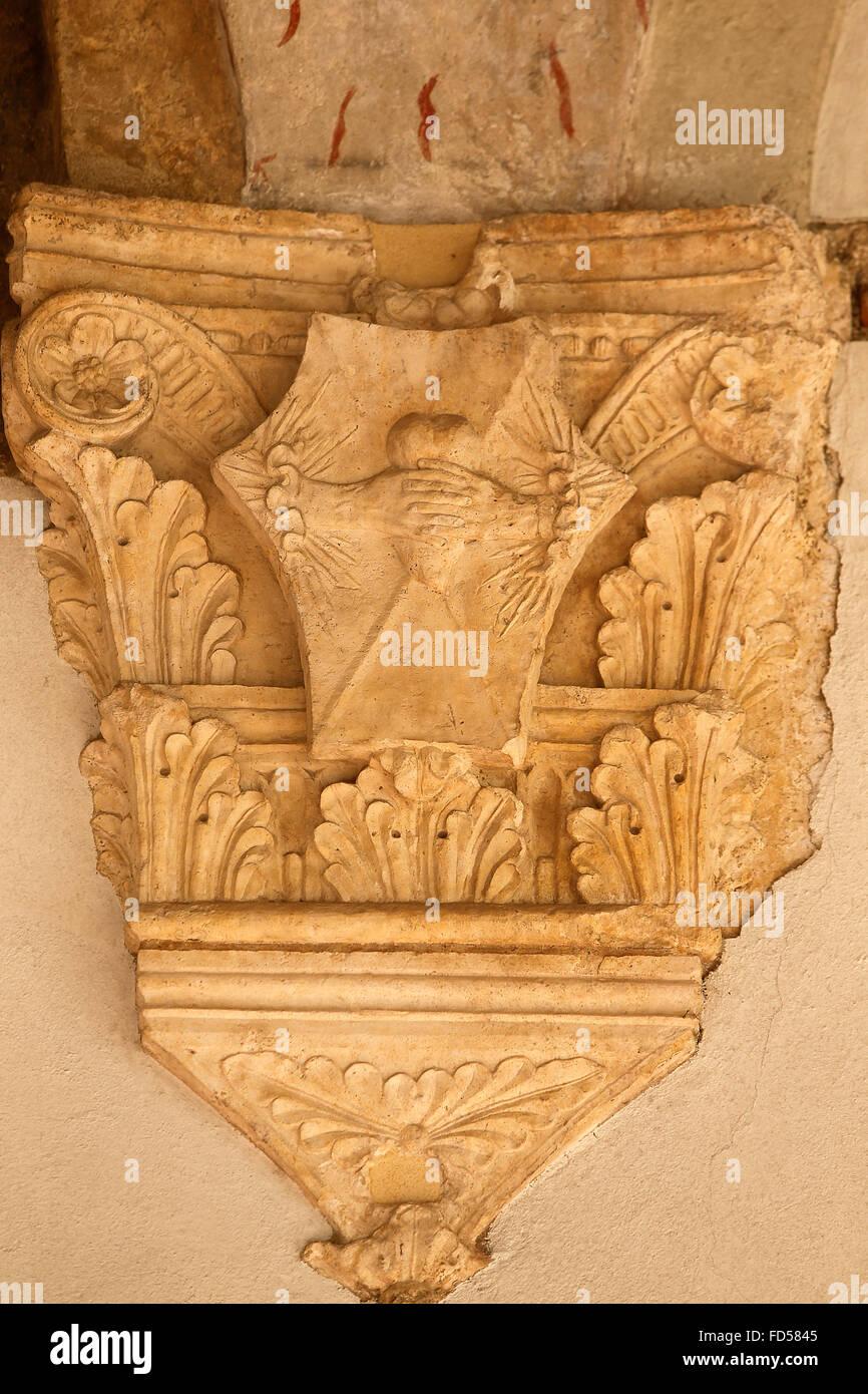 Castello Sforza. Rochetta. Capital. - Stock Image