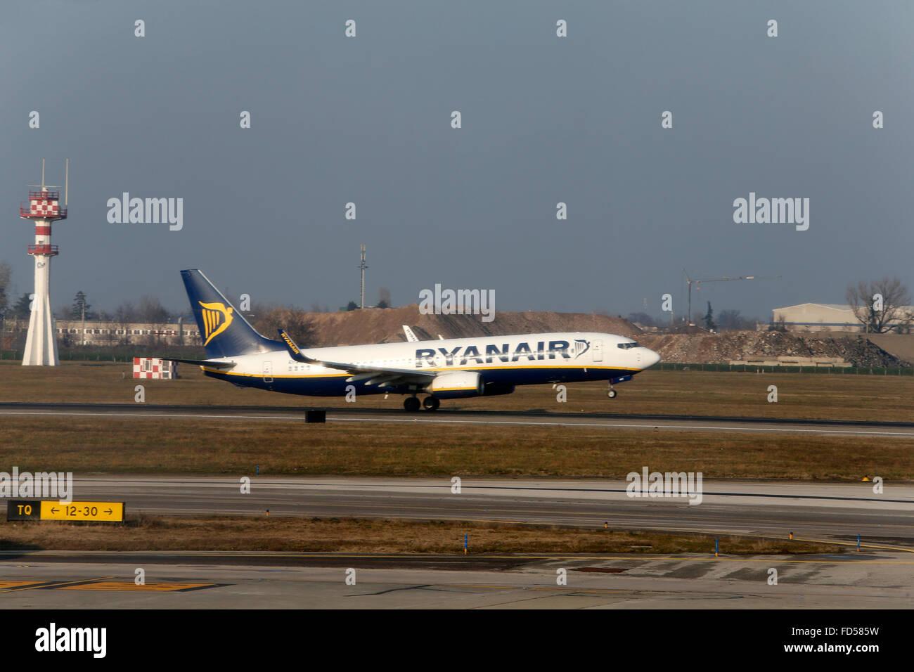 Ryanair plane taking off. - Stock Image