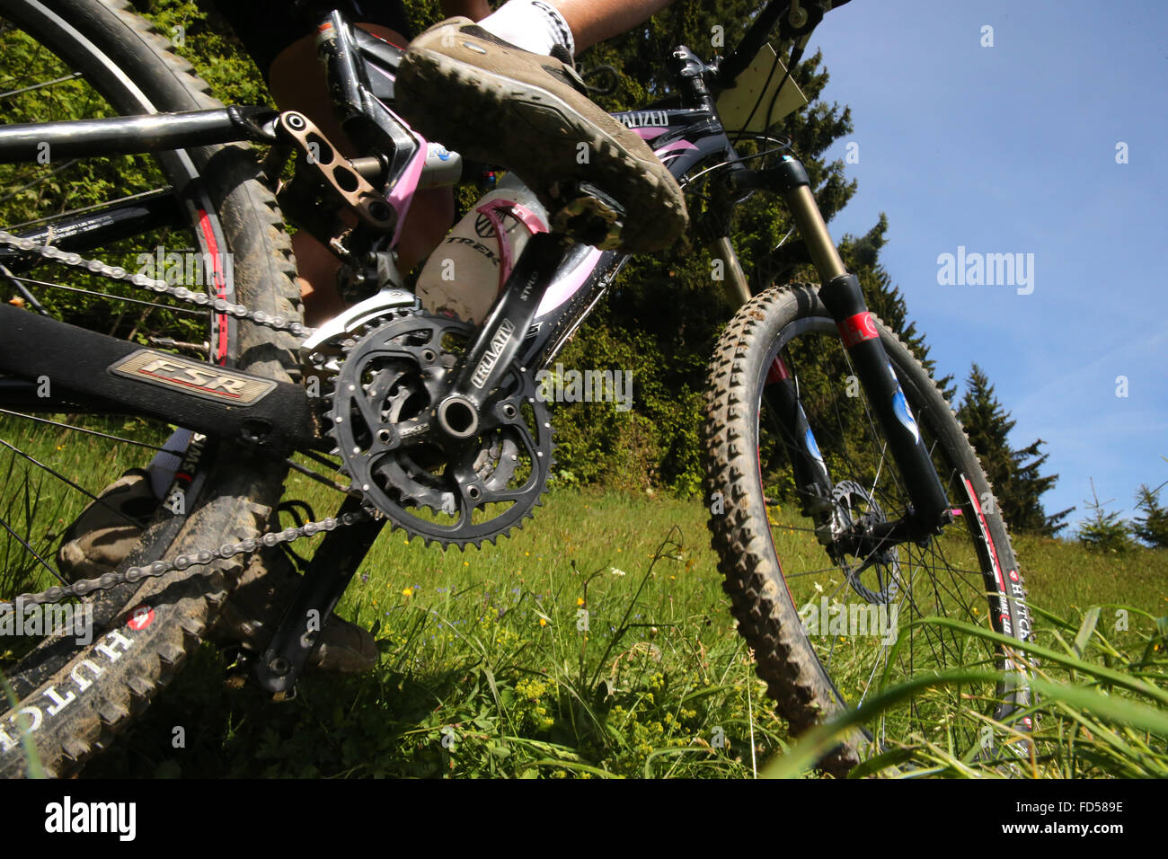 Dre Dans le l'Darbon : mountain bike race in the french Alps. - Stock Image