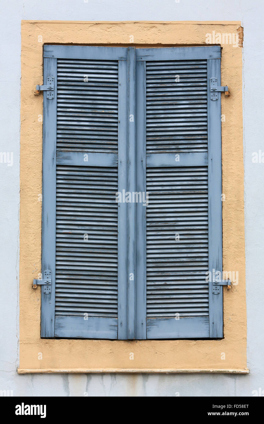 Blue shutters. Sophie's House of Rock, German writer. Stock Photo