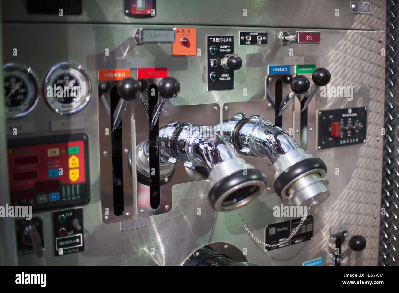 Gauges And Levers On Control Panel - Stock Image