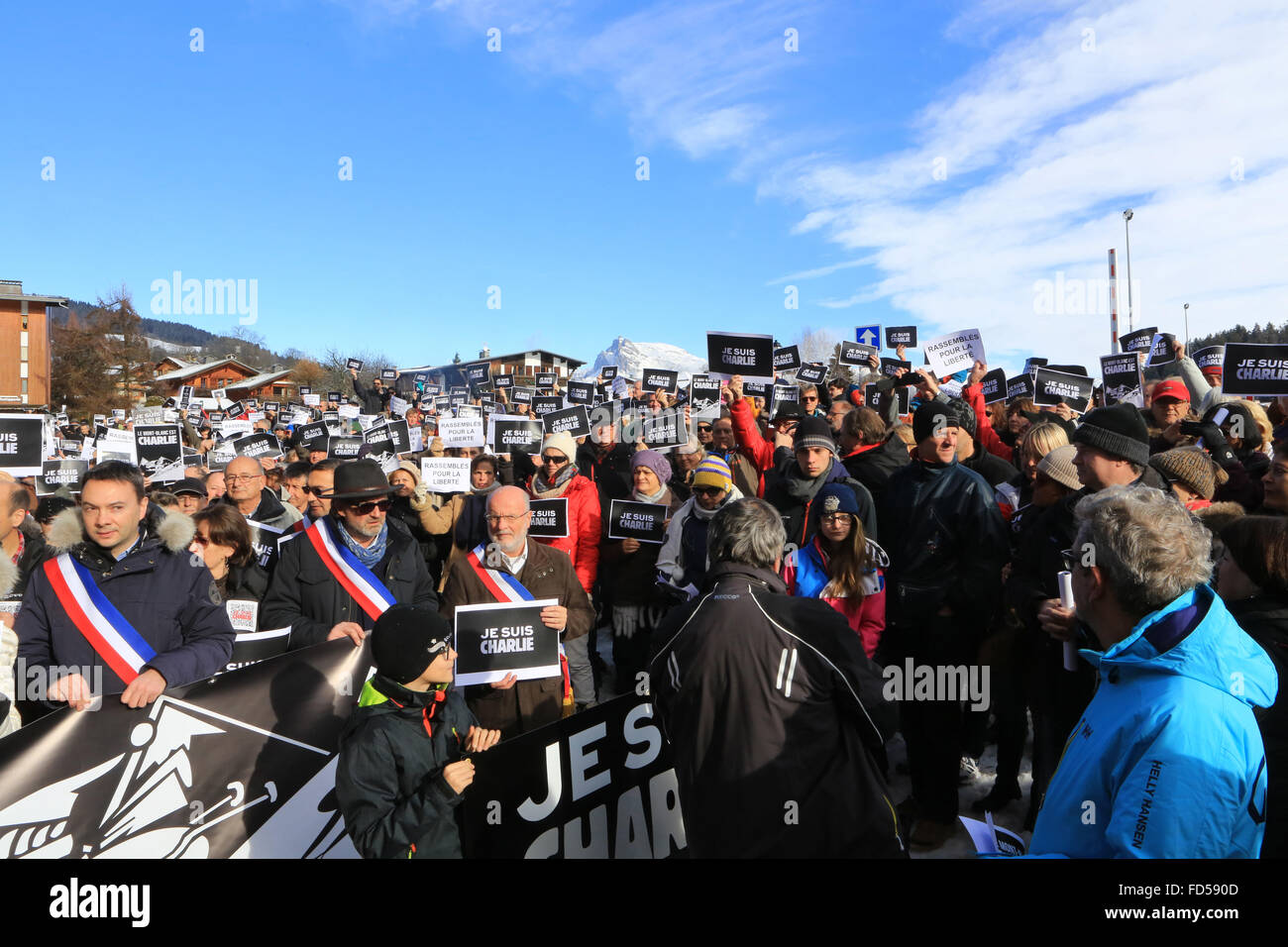Republican run in Haute Savoie against terrorism. 'I'm Charlie.' 'The Mont Blanc is Charlie.' - Stock Image