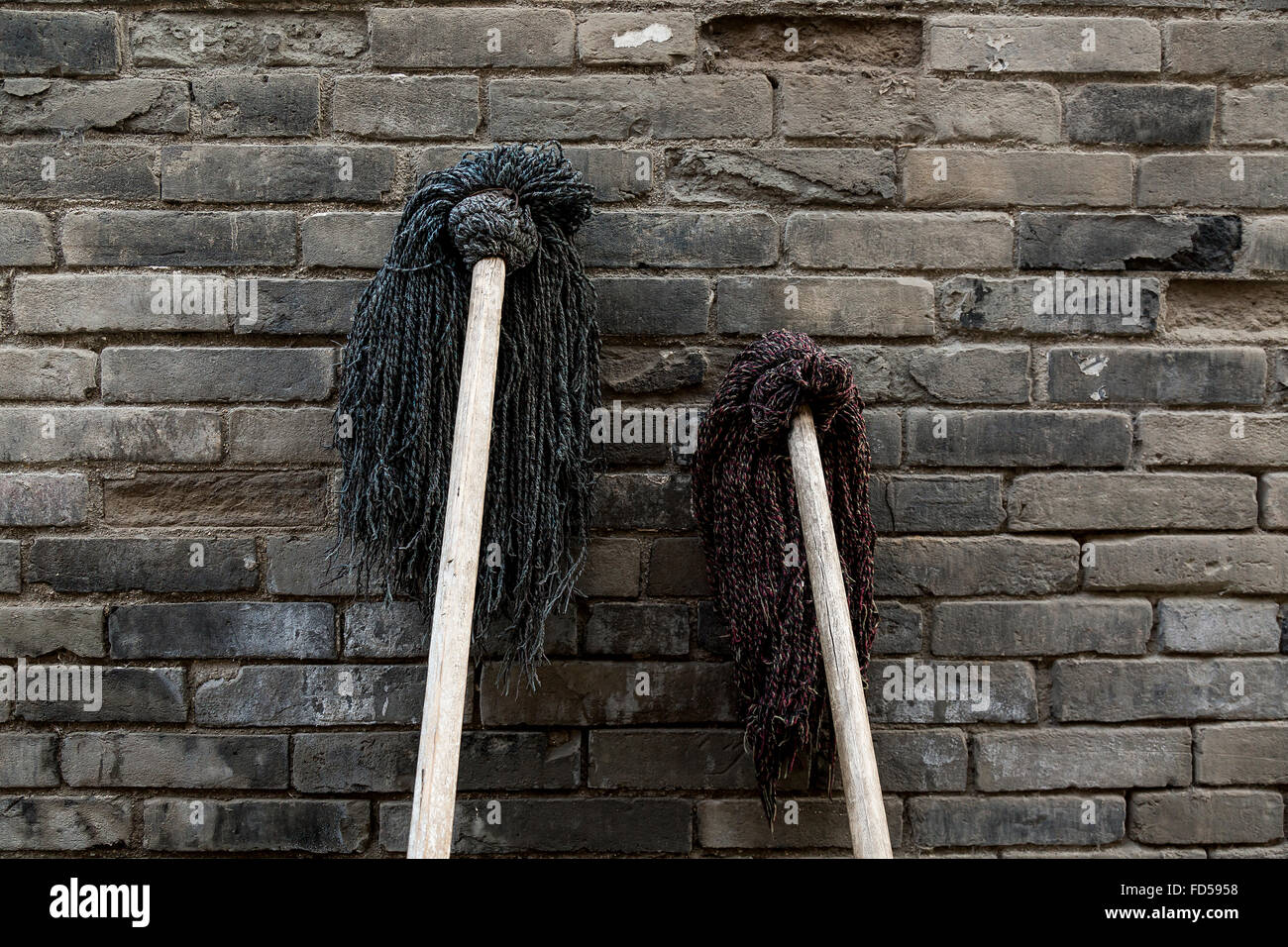 Mops against an old brick wall in Xi'an, China. - Stock Image