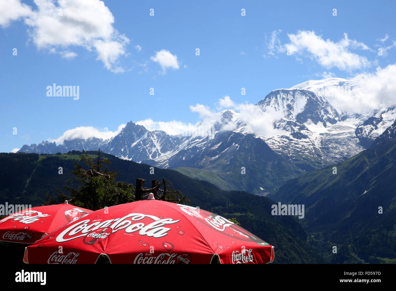 Sunshades facing the Mont Blanc. - Stock Image