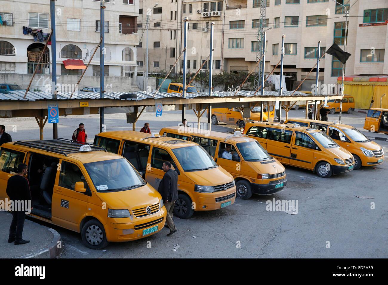 Nablus minibus station, West Bank. - Stock Image
