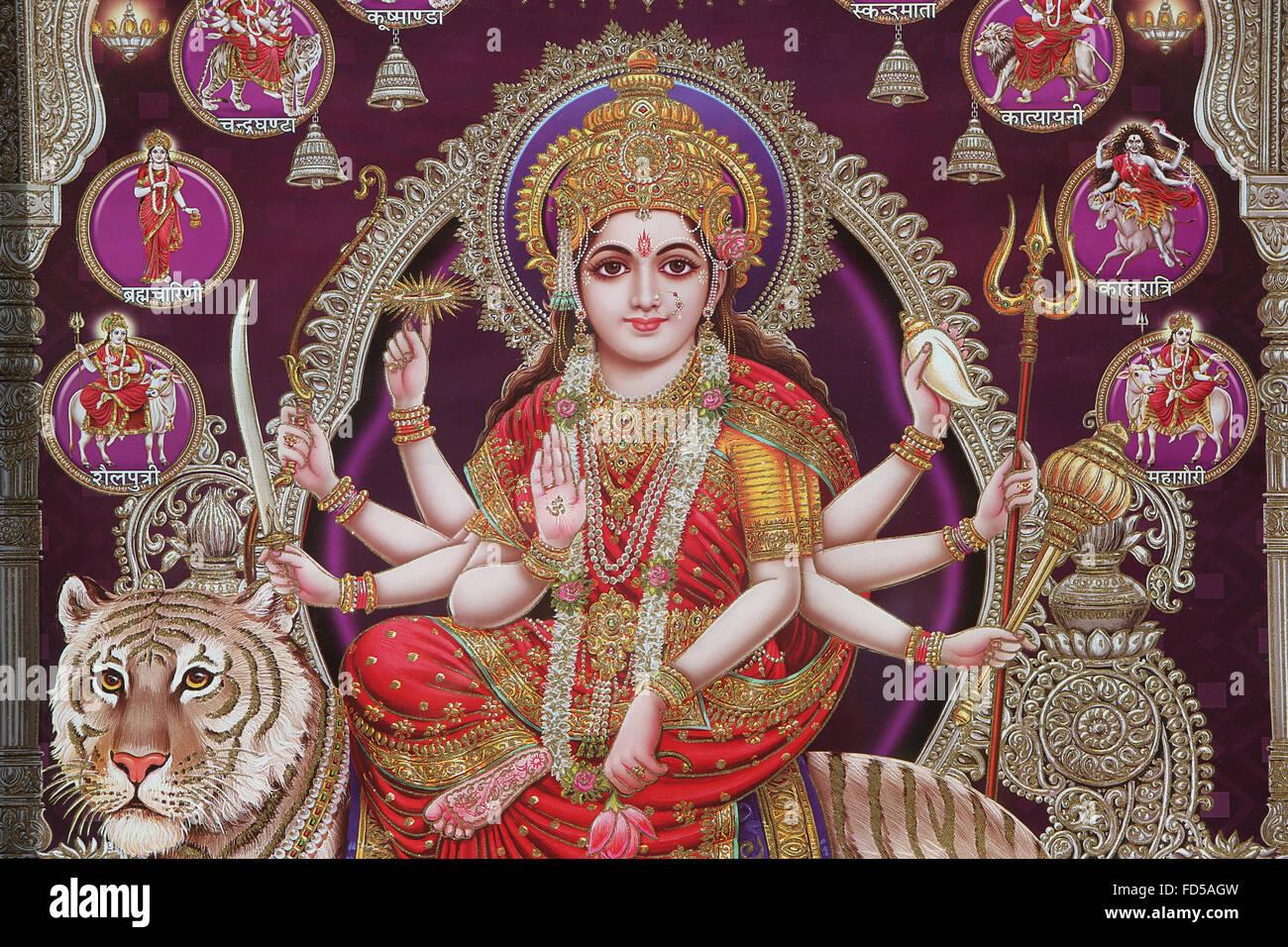 Hindu goddess Durga. - Stock Image