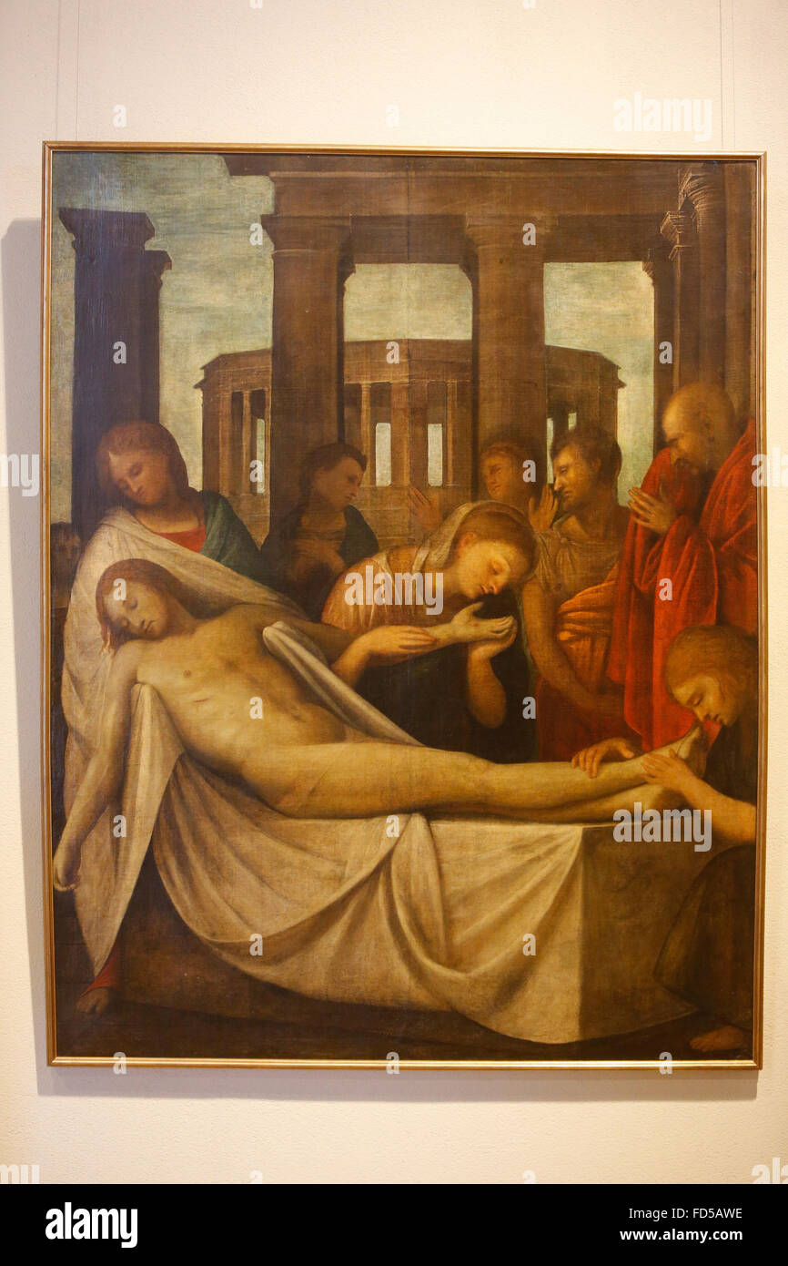 Sforza castle museum, Milan. Jesus laid down from the cross. Bartolomeo Suardi called Bramantino, 1515-1520. Oil - Stock Image
