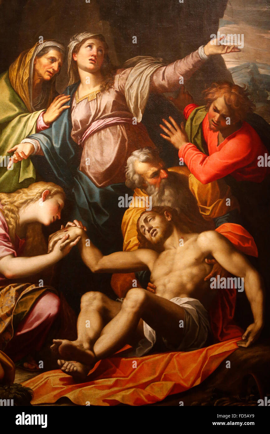 Diocesan art museum, Milan. Jesus laid down from the cross, Giovanni Battista Trotti called Malosso (1555-1619). - Stock Image