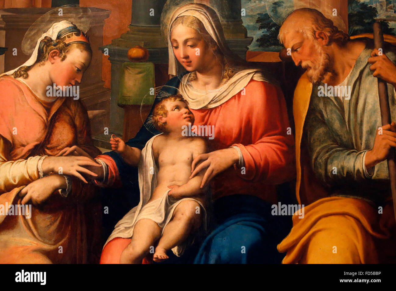 National Gallery, Bologna. Mystical marriage of Sainte Catherine of Siena. Giovanni Battista Ramenghi, c 1545. - Stock Image
