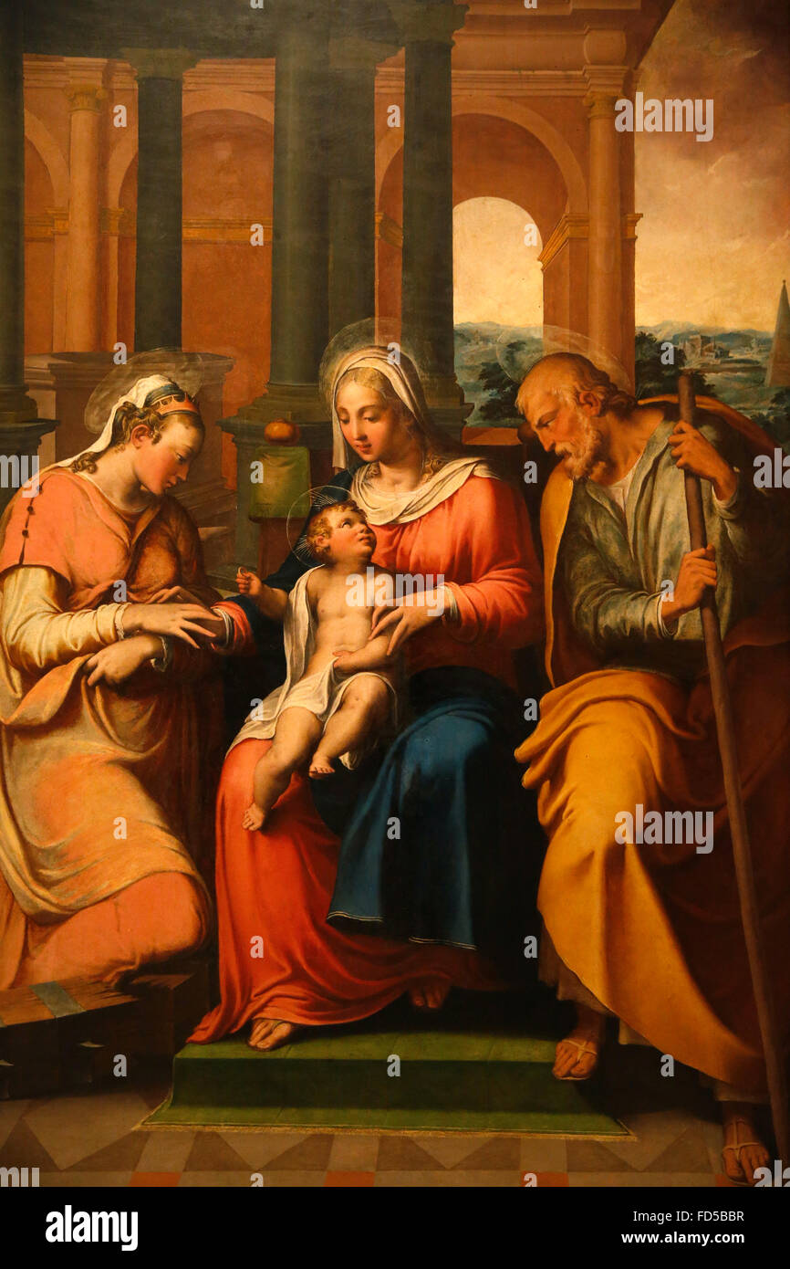 National Gallery, Bologna. Mystical marriage of Santa Caterina. Giovanni Battista Ramenghi, c 1545. - Stock Image