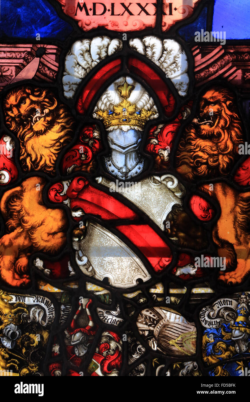 Heraldic stained-glass panel with the arms of Strasbourg and of the four administrators of the work of Our Lady. - Stock Image