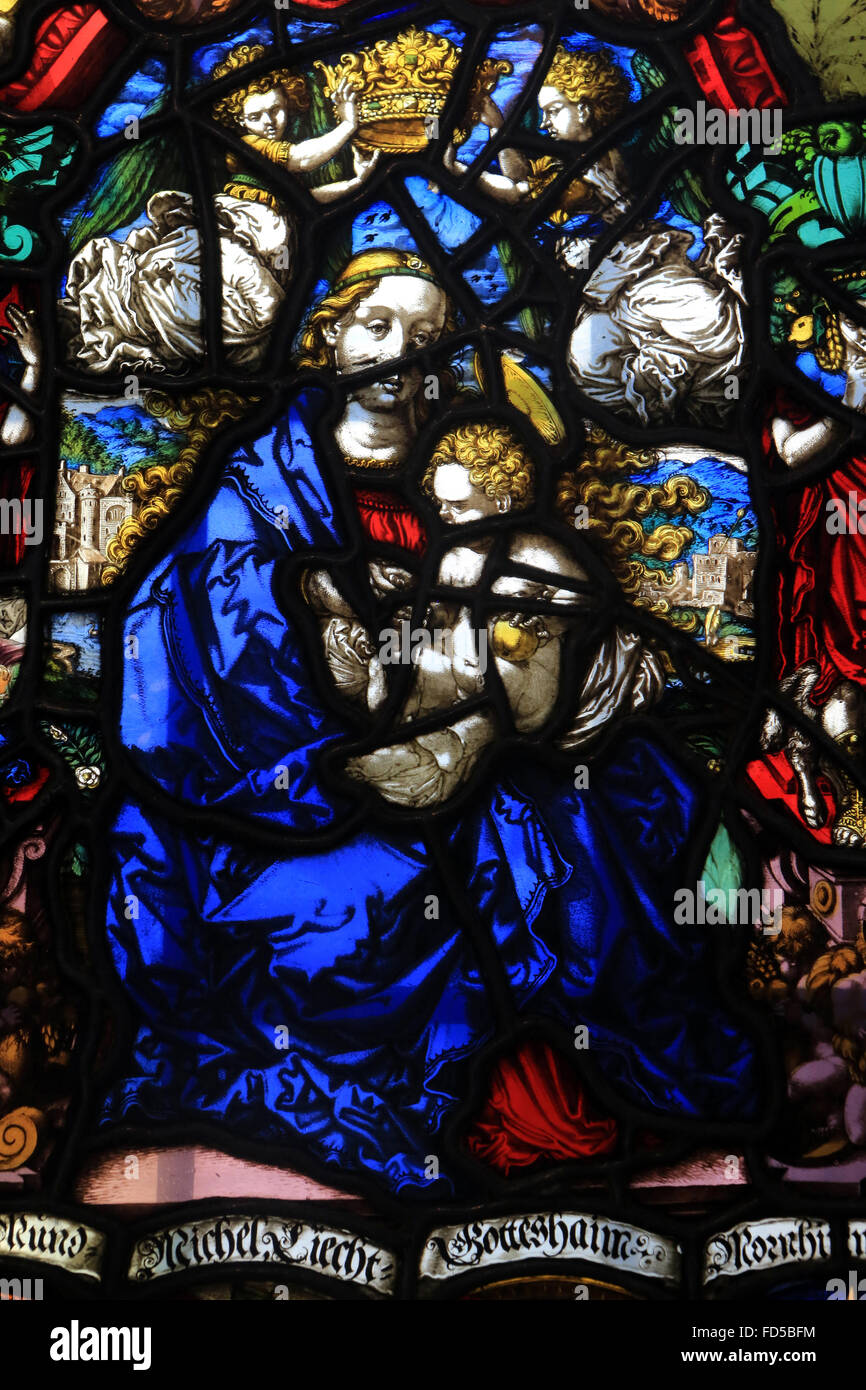 Heraldic stained glass work of Notre Dame with Virgin and Child. Oeuvre Notre-Dame de Strasbourg Museum . - Stock Image