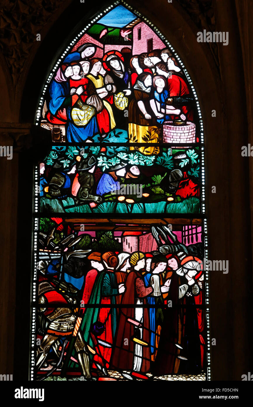Oxford's Cathedral at Christ Church college, Oxford. St Frideswide window. - Stock Image