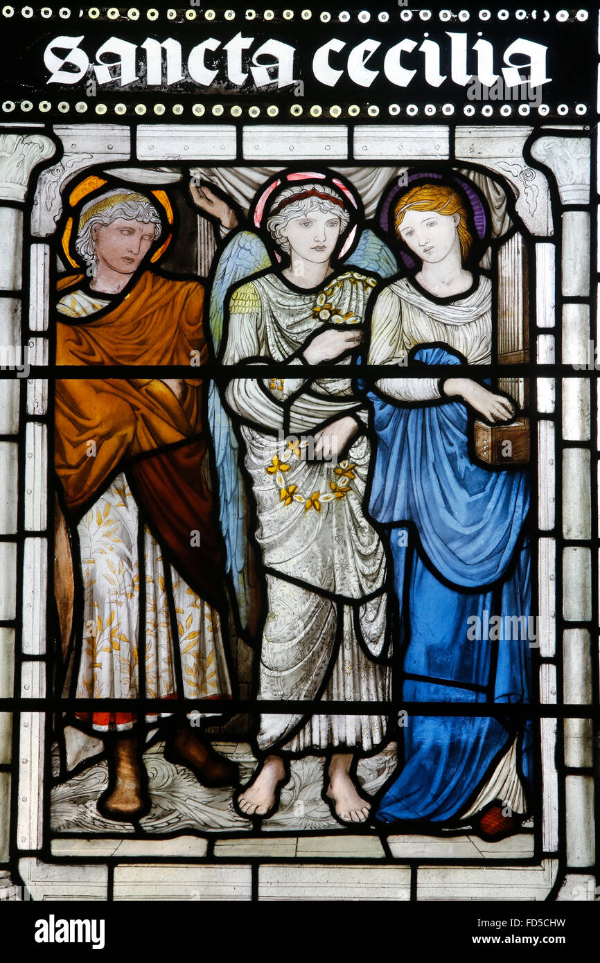 Oxford's Cathedral at Christ Church college, Oxford. Stained glass. Santa Cecilia. - Stock Image