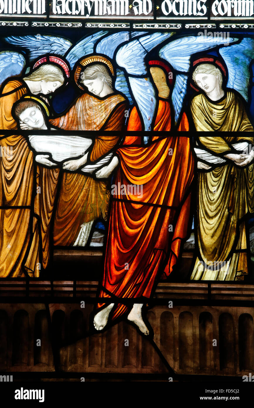 Oxford's Cathedral at Christ Church college, Oxford. Stained glass. - Stock Image