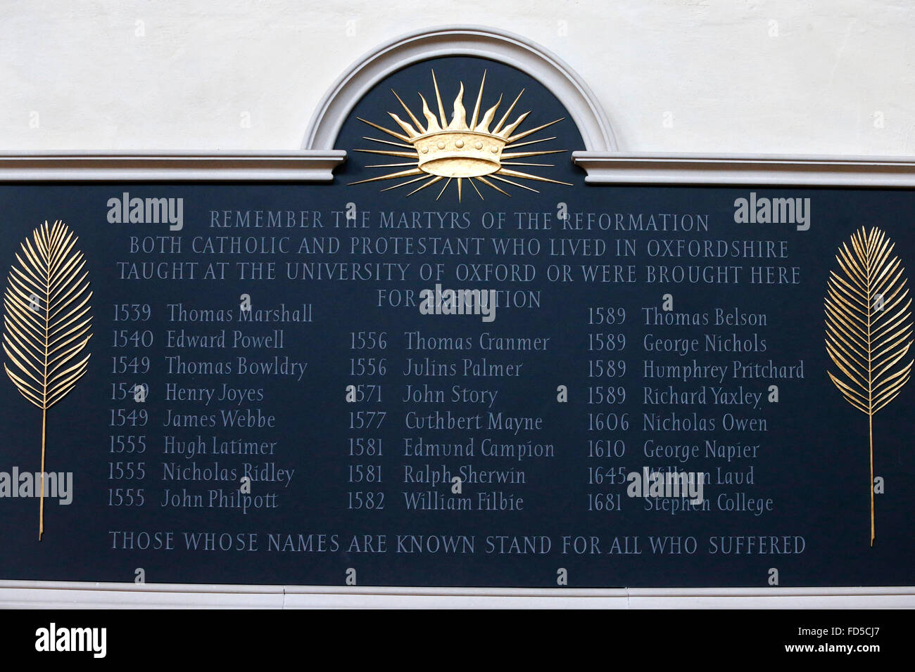 University church of St Mary the Virgin, Oxford. Martyr memorial. - Stock Image