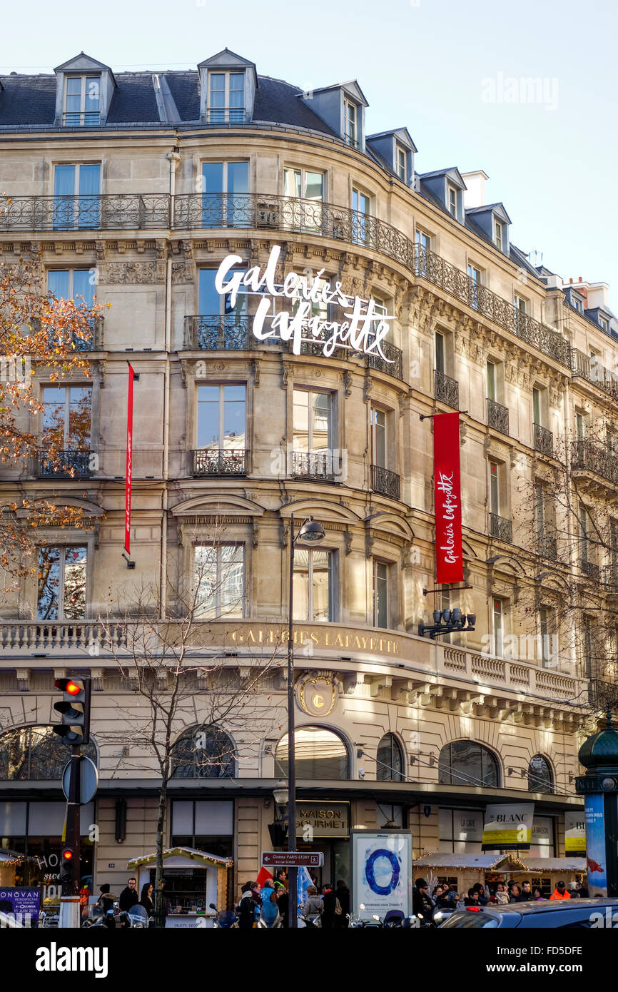 Entrance building Galeries Lafayette shopping mall, Paris, France. - Stock Image