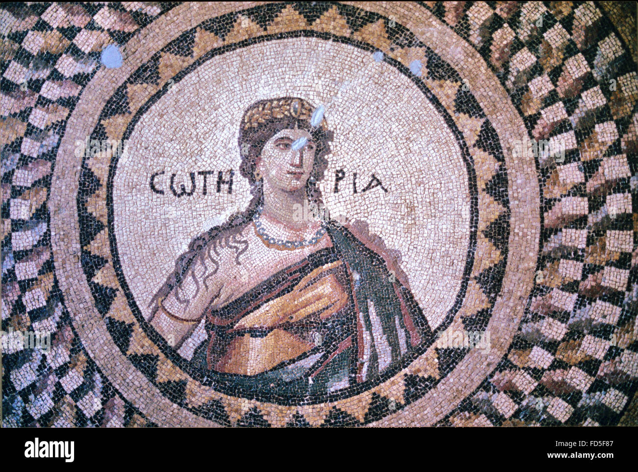Roman Floor Mosaic of the Greek Goddess Soteria (c5th), the Personification of Salvation, or Deliverance from Harm Stock Photo