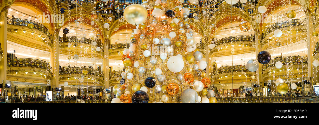 interior christmas decorations at galeries lafayette shopping mall paris france - Mall Christmas Decorations