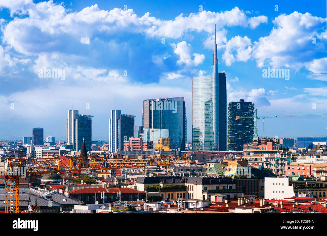 Milan, view on the skyline from the Duomo, Lombardia, Italy - Stock Image