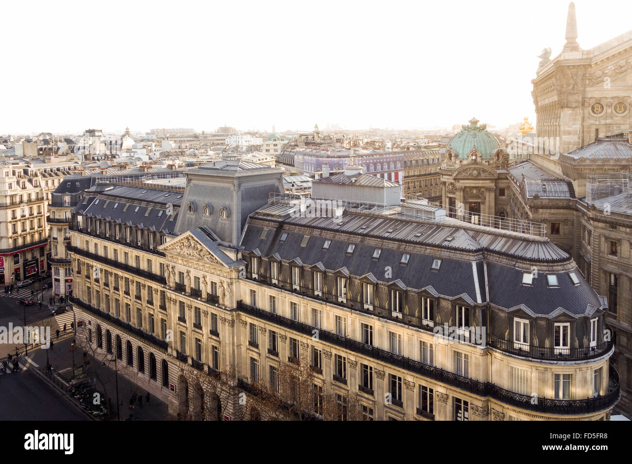 Corporate Office Building Bank Societe generale from roof terrace Galleries Lafayette, Paris, France. - Stock Image