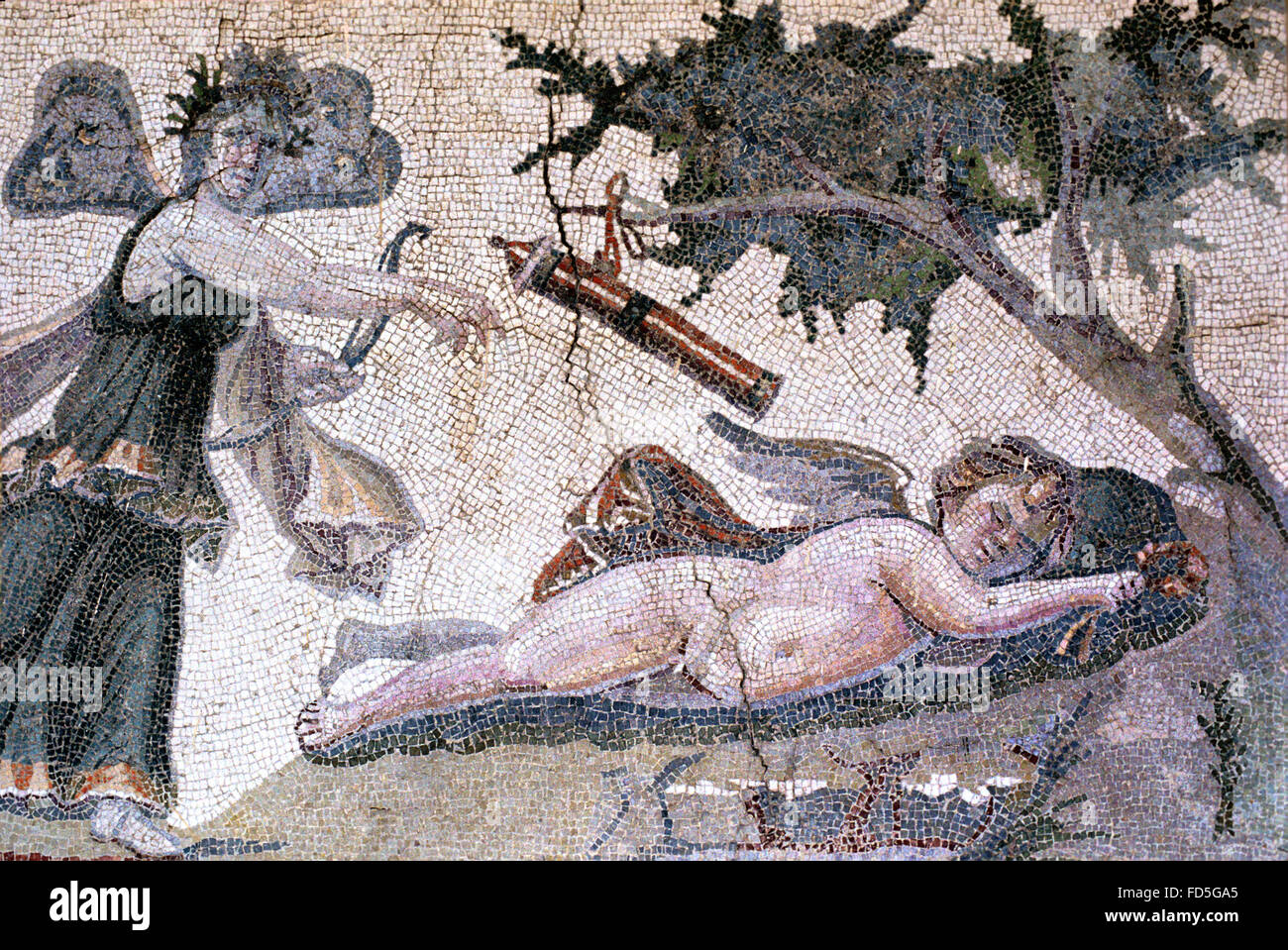 Eros, the Greek God of Love (or Roman Cupid) and Psyche a mortal Woman in Greek Mythology who became Eros' Wife. Stock Photo