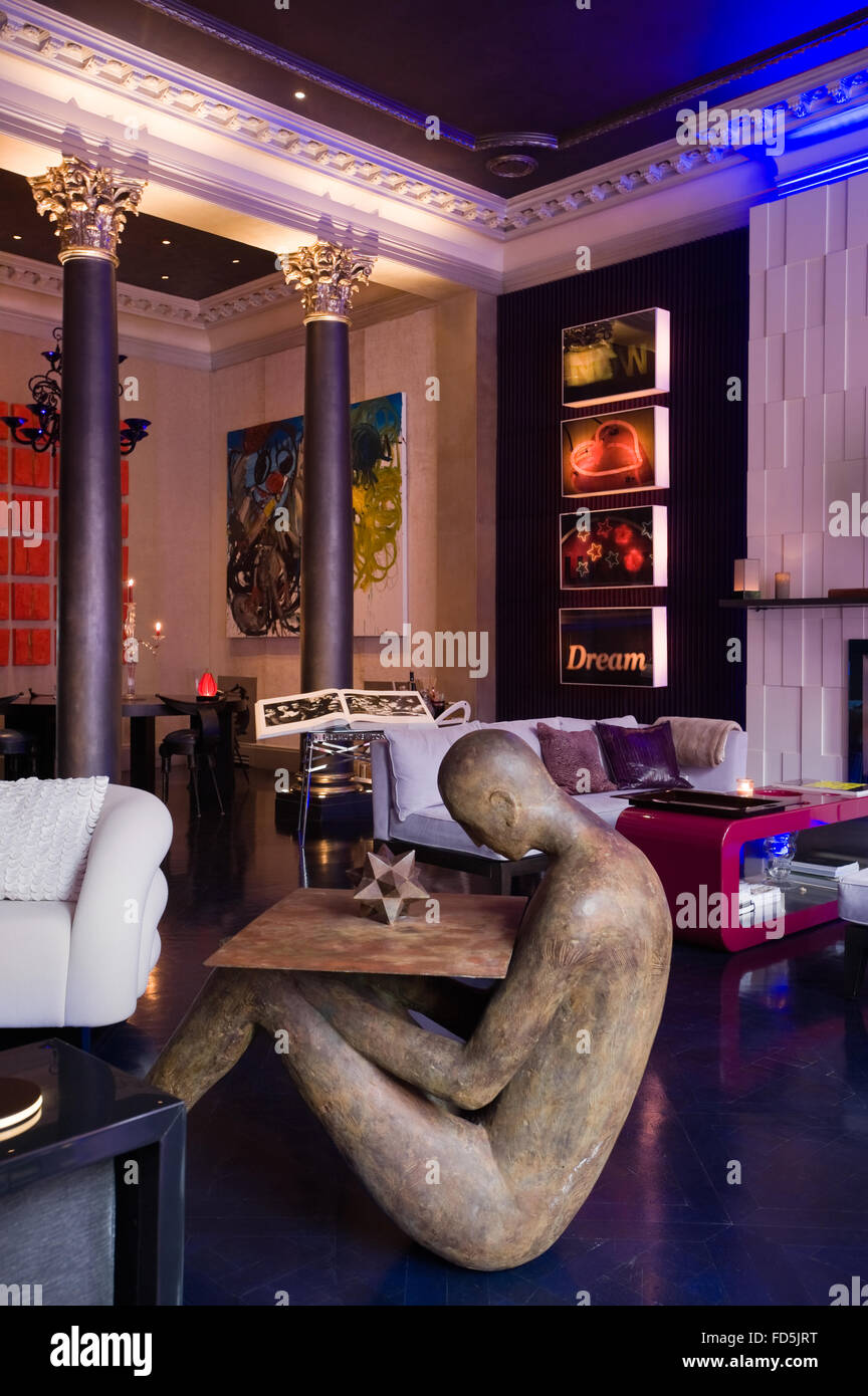Collection of contemporary art pieces on display in London apartment Stock Photo