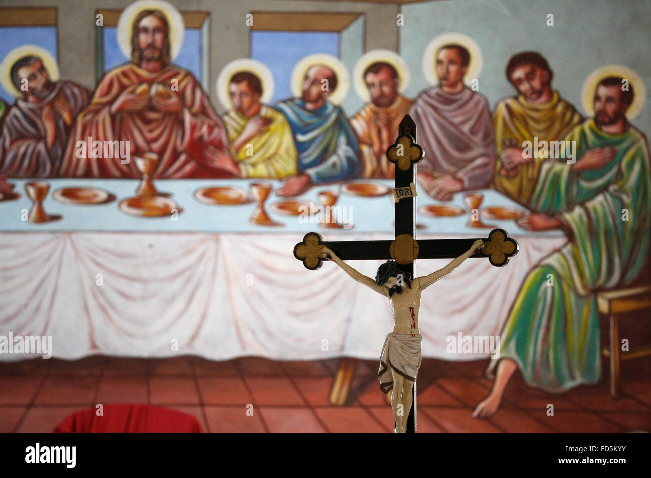 Crucifix and the depiction of the last supper. - Stock Image