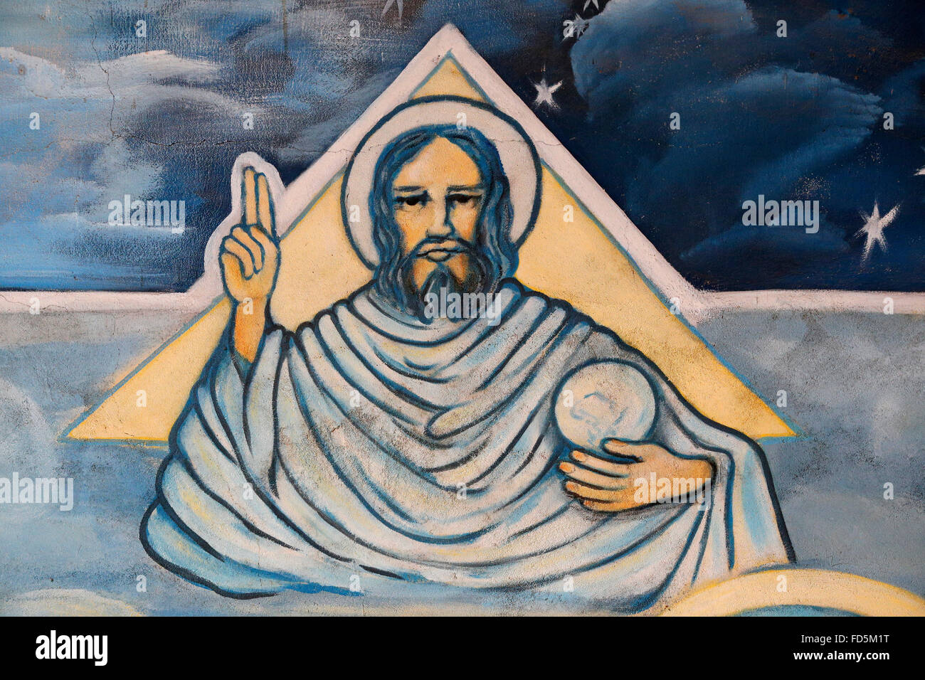 Painting. Depiction of God. - Stock Image